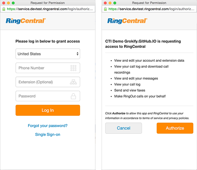 RingCentral 3-legged OAuth
